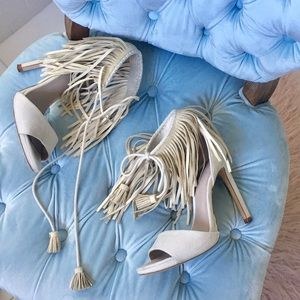 Zara Grey Fringe Sandals